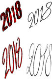 Happy 2018 sign. On white background illustration Royalty Free Stock Photo
