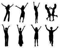 Happy silhouettes Stock Image