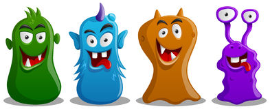 Happy Silly Cute Monsters Set. Consisting of four colored monsters Stock Photo