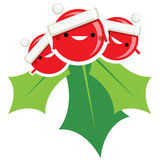 Happy simple cartoon smiling Christmas mistletoe Santa Claus cha Stock Image