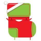 Happy simple cartoon smiling Christmas sock Santa Claus characte Royalty Free Stock Photo