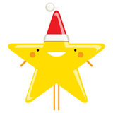 Happy simple cartoon smiling Christmas star Santa Claus characte Royalty Free Stock Photos