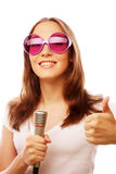 Happy singing girl Royalty Free Stock Photography