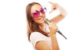 Happy singing girl Stock Photos