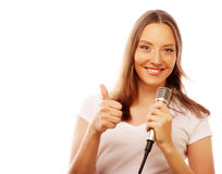 Happy singing girl. Stock Photo