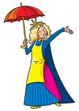 Happy singing woman in crown with umbrella stock illustration