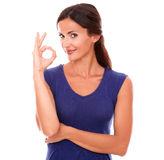 Happy single female gesturing a great job Royalty Free Stock Photos