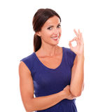 Happy single lady gesturing a great job Stock Photo
