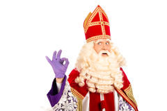Happy Sinterklaas on white background. Sinterklaas portrait.Showing okay. isolated on white background. Dutch character of Santa Claus Stock Images