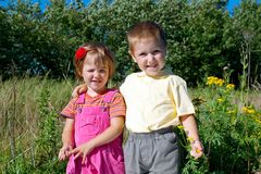 Happy sister and brothe stock images