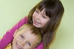 Happy sister and brother. Children fun Royalty Free Stock Photo