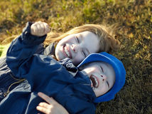 Happy sister and brother Royalty Free Stock Images