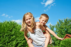 Happy Sister and Brother outdoor Royalty Free Stock Photo