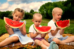 Happy sister and brothers eating watermelon Stock Photography