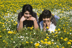 Happy sisters. Lying in spring meadow Stock Image
