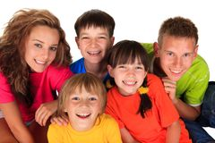 Happy sisters and brothers Royalty Free Stock Photo