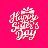Happy sisters day lettering poster Royalty Free Stock Photo