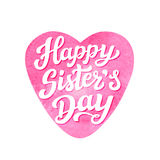 Happy sisters day lettering poster Stock Image