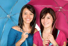 Happy sisters - funky colours Stock Image