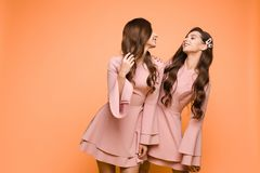 Happy sisters in pink dresses smiling and standing together. Brunette twins with long hair in pink dresses posing at camera on yellow studio background. Happy royalty free stock photo