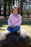 Happy Sitting on a Rock. Four year old girl sitting on a large rock.  She is in a park near a large group of mature trees Stock Photo