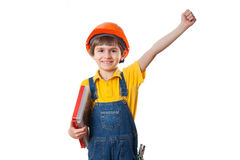 Happy six-year-old boy with plastic toolbox Royalty Free Stock Images