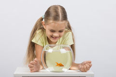 Happy six year old girl looking down on the aquarium with goldfish Royalty Free Stock Photos