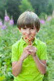 A happy six years kid is holding a bunch of wild strawberry Royalty Free Stock Image