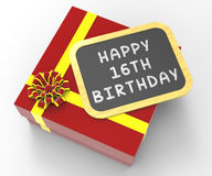 Happy Sixteenth Birthday Present Shows Sweet Stock Images