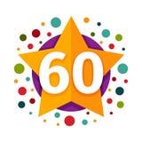 Happy sixtieth birthday badge vector icon. Stock Photos