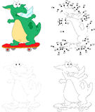 A happy skateboard green dragon. Dot to dot game for kids Royalty Free Stock Photos