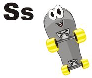 Happy skateboard and letters. Smiling gray skateboard with letters s Vector Illustration