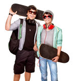Happy skateboarders Royalty Free Stock Images