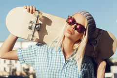 Happy skater girl Stock Images