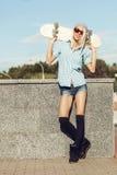 Happy skater girl Royalty Free Stock Photography