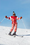 Happy ski girl in red Stock Photography