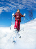 Happy skier enjoying winter holidays at sunny day Stock Images