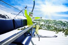 Happy Skier On Ski Lift Royalty Free Stock Photo
