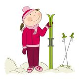 Happy skier, standing and holding ski. Original hand drawn illustration Royalty Free Stock Photography