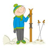 Happy skier, standing and holding ski. Original hand drawn illustration Royalty Free Stock Photo