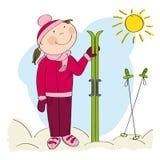 Happy skier, standing and holding ski. Original hand drawn illustration Stock Photos