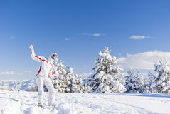 Happy skier on the top of mountain Royalty Free Stock Image