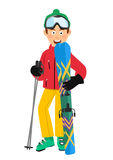 Happy skier wearing red jacket, green hat and goggles holding skis and poles standing over white background Royalty Free Stock Photos