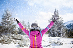 Happy skier woman on mountain Royalty Free Stock Photos