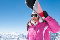 Happy skier woman royalty free stock photo