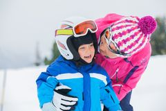 Happy skiers Royalty Free Stock Images