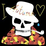 A happy skull in an autumn dress hat and coat and a smoking pipe in the teeth. The word `I` `Autumn` and the symbol of love is the heart. On the head a hat and Royalty Free Stock Image