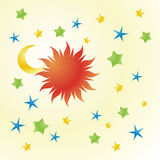 Happy Sky. Vector illustration of sun, moon and stars Royalty Free Stock Photo