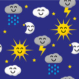 Happy sky pattern. Seamless pattern with happy clouds, Sun, Moon ans stars Royalty Free Stock Photo