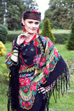 Happy  slavonic woman  in the field Royalty Free Stock Photography